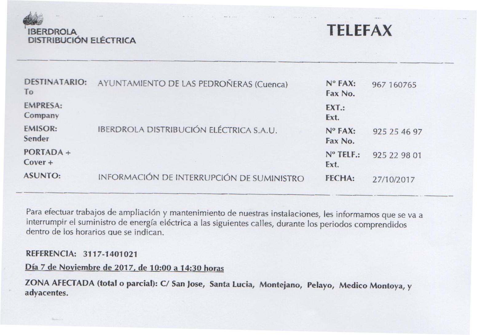 Informaci n corte de suministro 7 de noviembre 2017 for Iberdrola horario oficinas